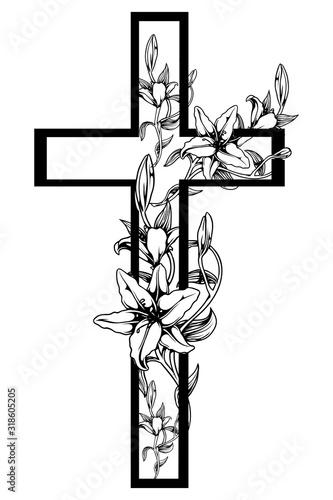 Fototapeta christening cross with  lily 4