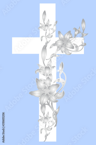 Fotografía christening cross with lily