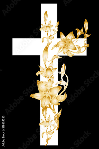 christening cross with gold lily 1 Fotobehang
