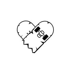 Broken Skateboard Heart Outline Icon. Clipart Image Isolated On White Background