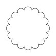 Scalloped circle outline shape. Clipart image isolated on white background