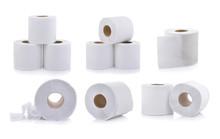Set Of Toilet Paper On White