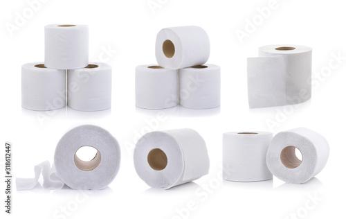 Fotografía set of toilet paper on white