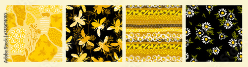Seamless patterns with bee. Trendy hand drawn textures. Canvas Print