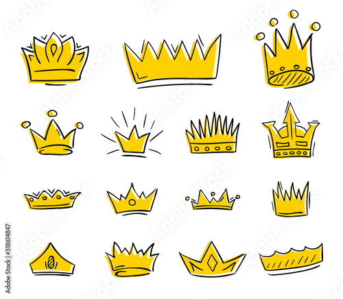 Hand drawn golden crowns draft set. Vector illustration. Canvas