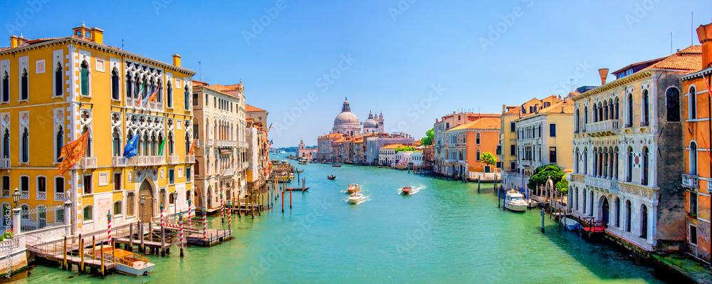 Fototapeta Panorama of Grand Canal and Basilica Santa Maria della Salute in Venice, Italy.