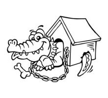 Alligator Pet On Chain In Doghouse, Black And White Cartoon Joke