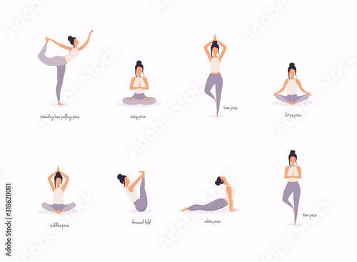 Fotografia Woman in various poses of yoga