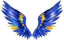 Beautiful Magic Glittery Blue Yellow Golden Wings, Vector