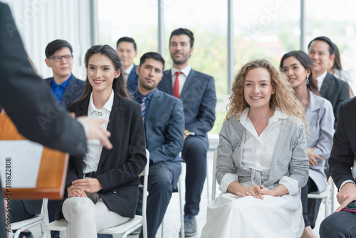 Stampa su Tela Group of diverse audience  listening to business coach at business meeting and t