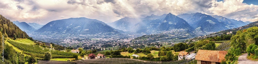 Fototapeta Panoramic view on Merano in South Tyrol, Italy