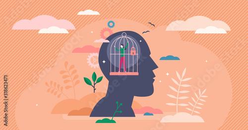 Obraz Mind prison psychological concept, flat tiny person vector illustration - fototapety do salonu