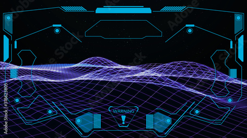 Εκτύπωση καμβά HUD Futuristic Screen Design Element Virtual Reality Aerial View Escort Security Technology