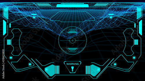 HUD Futuristic Screen Design Element Virtual Reality Aerial View Escort Security Technology Wallpaper Mural