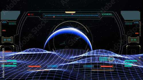 Photo HUD Futuristic Screen Design Element Virtual Reality Aerial View Escort Security Technology