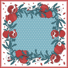 Silk Scarf With Pomegranate Branch With Fruits And Flowers.