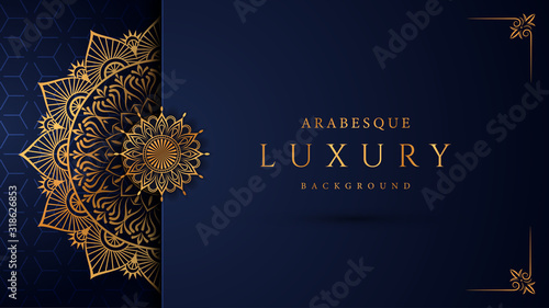 Foto Luxury mandala background with golden arabesque pattern arabic islamic east style
