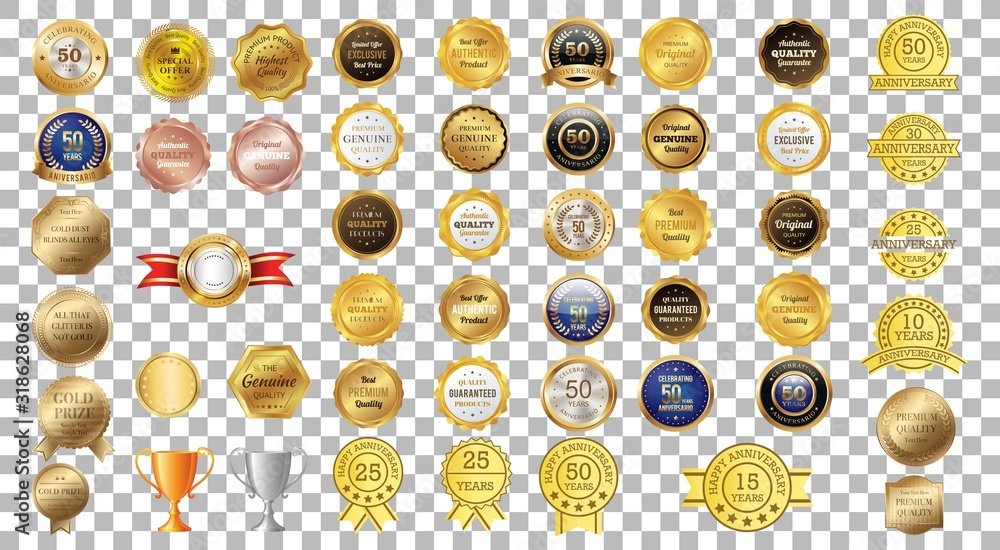 Fototapeta Award ribbon vector design. Collection of premium, quality tag labels. Star burst shaped badge with retro vintage styled design. Vector.