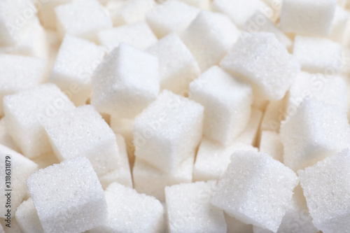 Fototapeta Closeup view of refined sugar as background obraz
