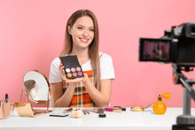 Beauty Blogger Filming Make Up...