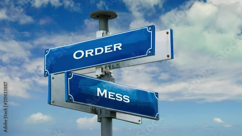 Fotografie, Tablou  Street Sign the Way to Order versus Mess