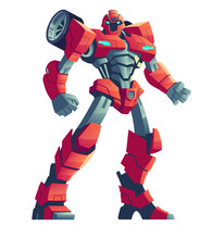 Red Robot Transformer, Cartoon...