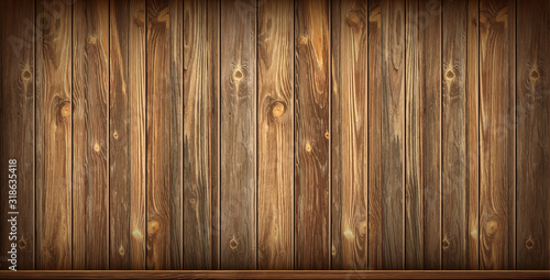 Valokuva Wooden wall and baseboard with aged surface, realistic vector illustration