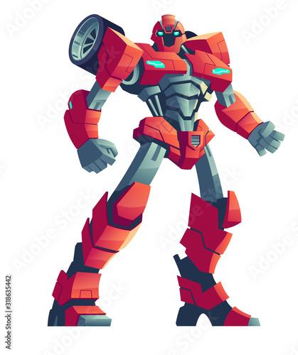 Photo Red robot transformer, cartoon vector illustration