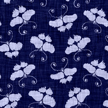 Ndigo Blue Batik Butterfly Dyed Effect Texture Background. Seamless Japanese Repeat Pattern Swatch. Animal Motif Wax Resist Dye. Wings Asian Fusion All Over Kimono Textile. Worn Boro Cloth Print