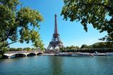 Fototapeta Fototapety z wieżą Eiffla - Eiffel Tower with River Seine on a sunny summer day in Paris, France