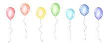 Set Of Coloful Watercolor Balloons Isolated On White Background