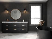 Interior Black Bathroom Classic Style 3D Rendering