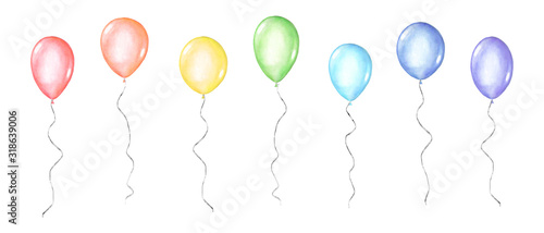 Set of coloful watercolor balloons isolated on white background Fototapet
