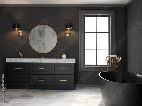 Fotomural Interior black bathroom classic style 3D rendering