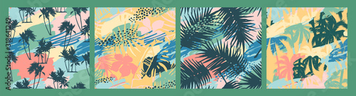 Seamless exotic patterns with tropical plants and artistic background.