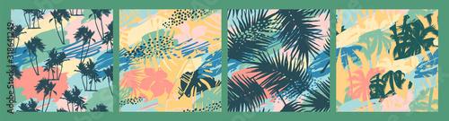 Bezszwowe egzotyczne wzory z tropikalnymi roślinami i artystycznym tłem.