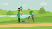 Volunteers Couple Planting Tre...