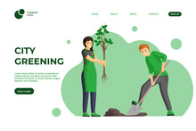 City Greening Color Landing Page Template. Planting Trees, Spring Gardening Works One Page Website Design. Nature Care Volunteering, Eco Friendly Lifestyle Homepage Cartoon Template With Characters