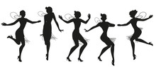 Silhouettes Of Five Flapper Girls Wearing Vintage Style Clothes Dancing Charleston Isolated On White Background