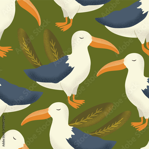 Fotografie, Obraz Vector textured albatross animal seamless pattern in a flat style
