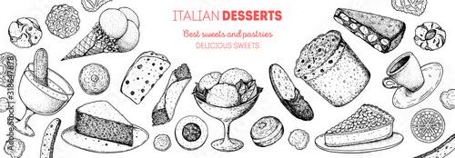 Photo Italian dessert vector illustration