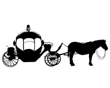 Horses Harnessed To A Beautiful Old Carriage. Isolated Silhouette On A White Background
