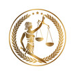 Lady justice, Themis, with sword and scales. Logo or emblem design for Law firm, Lawyer service, Law office. Personification of order, fairness, law, fair trial, rule, statute. Vector illustration.