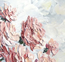 Oil Painting. Pink Roses In The Garden