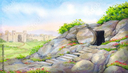 Fotografia Open empty tomb. Watercolor painting
