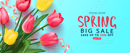 Photo Spring big sale card with tulips and serpentine