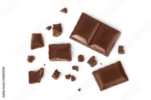 obraz lub plakat piece of chocolate isolated on white background with clipping path. . Top view. Flat lay.