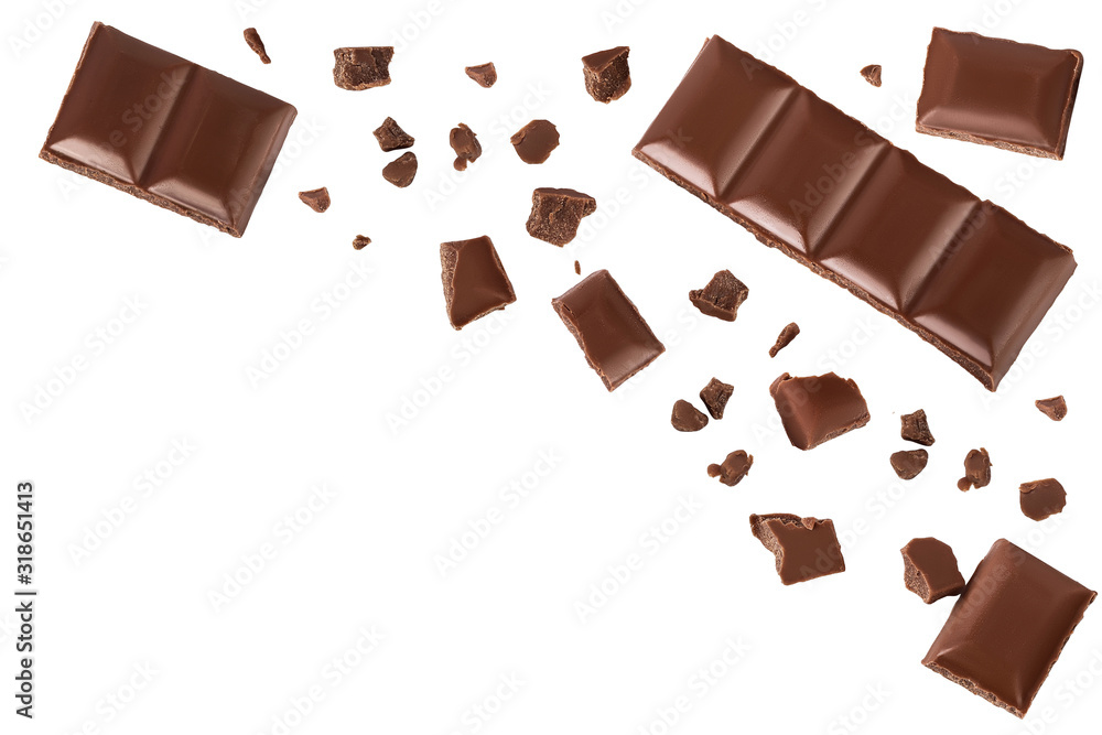Fototapeta piece of chocolate isolated on white background with clipping path. . Top view with copy space for your text. Flat lay.