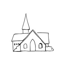 Vector Sketch Of A Rural Chapel In Vintage Style. Hand-drawn Illustration Of The Exterior Of A Vintage Chapel. Black Outline Drawing On A White Background Isolated