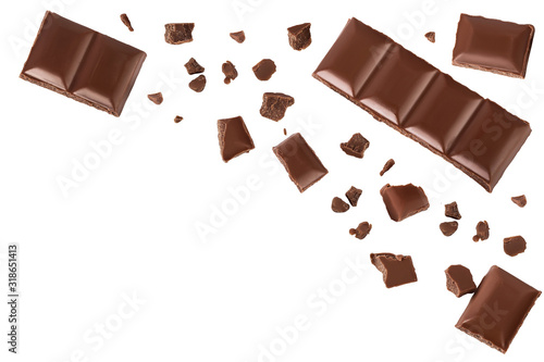 Fototapeta piece of chocolate isolated on white background with clipping path. . Top view with copy space for your text. Flat lay. obraz